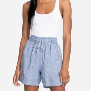 Johnny Was Odine Paperbag Shorts Blue Small